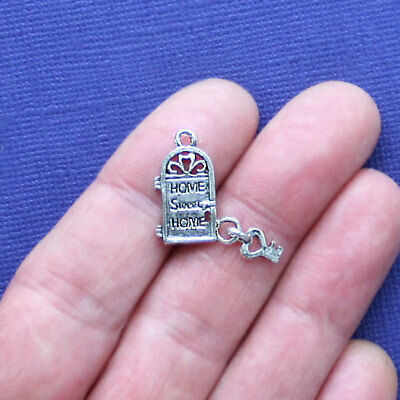 6 Front Door Charms Antique Silver Tone 2 Sided Home Sweet Home - SC991