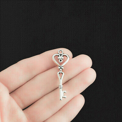 6 Key Charms Antique Silver Tone Large 2 Sided - SC1387