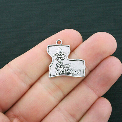 6 New Orleans Charms Antique Silver Tone Louisiana Charms - SC953