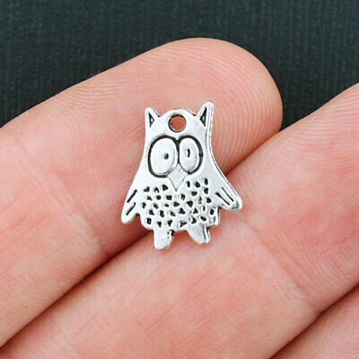 SC6996 10 Owl Charms Antique Silver Tone 2 Sided So Cute