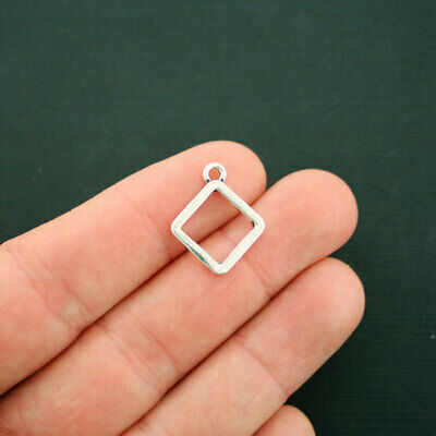 10 Square Charms Antique Silver Tone 2 Sided Connector SC4487