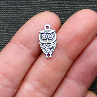 6 Owl Connector Charms Antique Silver Tone SC886