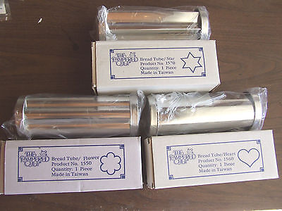 3 Pampered Chef Valtrompia Bread Tubes Flower #1550 Heart #1560 Star #1570 NEW