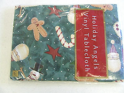 Holiday Angels Christmas Tablecloth Vinyl Santa- Candy Cane 52 inch square NEW