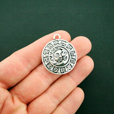 Zodiac Pendant Charm Antique Silver Tone Sun and Moon Astrology Signs - SC6534