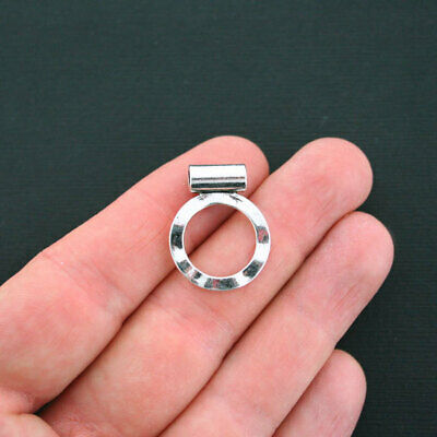 Chunky Silver Rings Spacer Separator Beads Uneven Misshapen 8mm Large Hole Qty 2