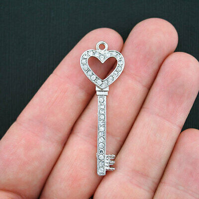 Large Key Charm Antique Silver Tone with Encrusted Rhinestones - SC3549