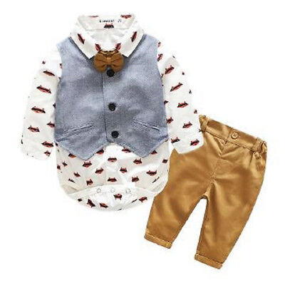 Baby Boys Formal Suit Waistcoat Tops Shirt Pants Tuxedo Outfits Set Clothes 0-2T