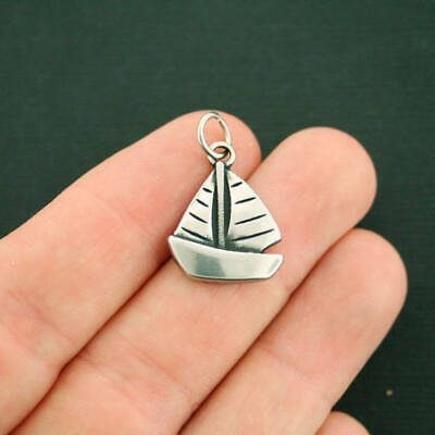 Sailboat Charm Antique Silver Tone Stainless Steel With Jump Ring - MT586