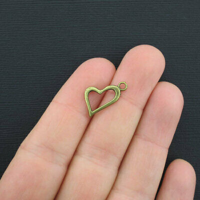 10 Heart Charms Antique Bronze Tone 2 Sided BC871