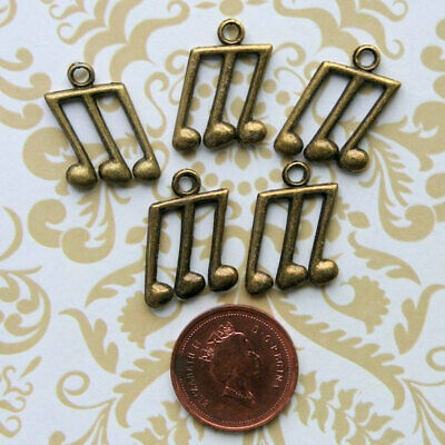 SC2691 BULK 50 Music Note Charms Antique Silver Tone Double Notes 2 Sided