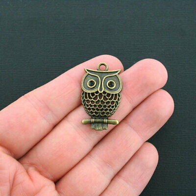 4 Owl Charms Antique Bronze Tone with Blank Stone Setting Eyes - BC1254