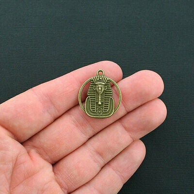 4 Pharaoh Charms Antique Bronze Tone 2 Sided Egyptian King  - BC1290