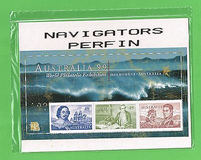 """AUSTRALIA """"A99  NAVIGATORS"""" PERFIN pair M/sheets (only 32000 hand-perfinned)RARE"""