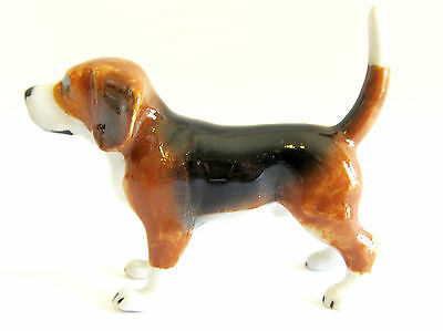 Miniature Porcelain Hand Painted Beagle Standing Dog Figurine