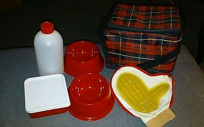 Pet Travel Bag/Cooler Water/food bowl, Water/food container, brush/mitt Nwot Red