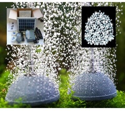 2 STONE POND 5W AERATOR with BATTERY BACKUP, OXYGENATOR + 200 WHITE FAIRY LIGHTS