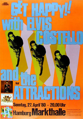 Elvis Costello and the Attractions 1980 Hamburg German Concert Poster Get Happy