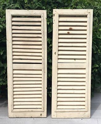 """2 Vtg Cream 35"""" Tall COLONIAL PLANTATION House WOOD LOUVER Exterior SHUTTERS"""