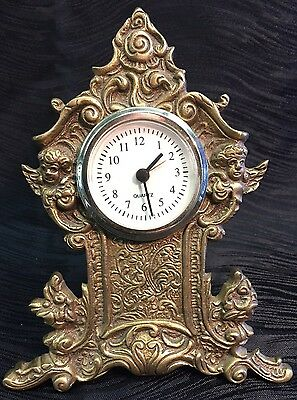 Antique Vintage Brass Cherub Art-Nouveau Desk Table Clock Flowers Ornate Rare