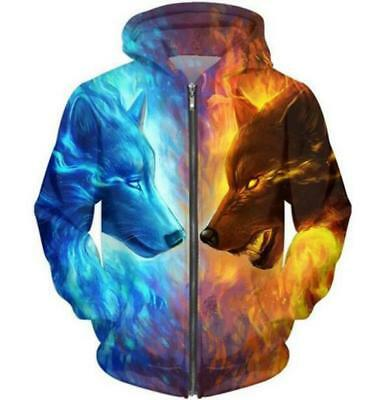New Fashion Women/Men Ice and Fire Wolf 3D Print Casual Zip-up Hoodie  Jacket L1
