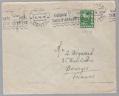 1938 Lithuania cover to France