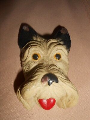 "Vintage Chalkware Scotty Scottie Dog Head Wall Hanging~3 1/2"" Tall"