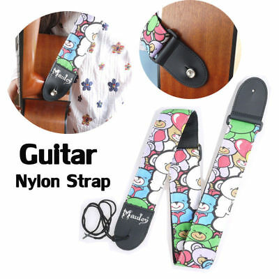 Nylon Adjustable Acoustic Electric Bass Guitar Strap W/ Leather End Cartoon New