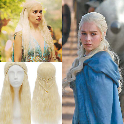 GAME OF THRONES KHALEESI TRESSE Perruques Daenerys Targaryen nacre Dragon
