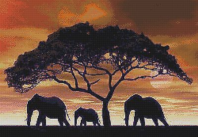 Elephant Herd Silhouette - Counted X-Stitch Chart