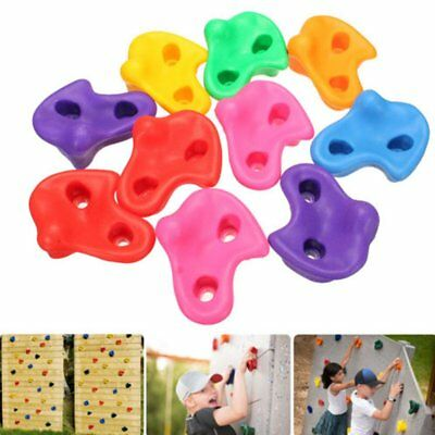10Pc Kid Textured Climbing Rock Wall Stone With Kit Hardware Screw Assorted Bolt
