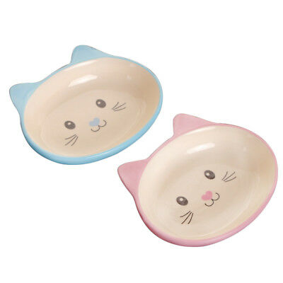 Non-Skid Cat Ear Shaped Cat Dog Bowls Ceramic Pets Feeder for Small Pets US
