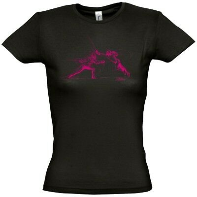 ARTOS Fechtmotiv Women T-Shirt Damen Sport Freizeit Tee Shirt black pink 5602