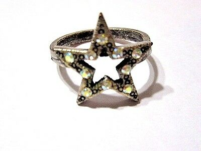 Darkened Silver Tone Plated Metal Ab Crystal Textured Ring Star Shape Size 7