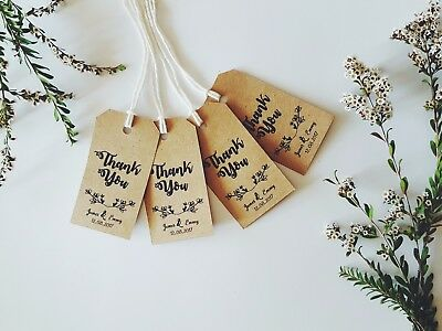 10 Handmade Personalised Thank you Favour Gift Tags-Wedding/Birthday/Baby shower