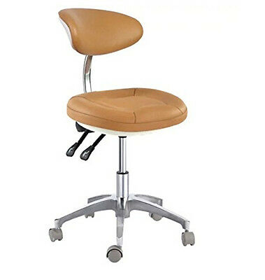 Dental Office Chair Doctor's/Assitant's Stool With Backrest Micro Fiber Leather