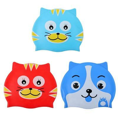 Children Kids Girl Boy Silicone Cartoon Cat Puppy Bathing Hat Swimming Cap aa21ef93a6d8