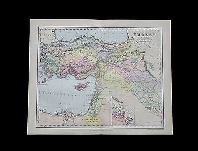 Antique 1883 colour map of TURKEY in Asia - 130+ years old & VGC !