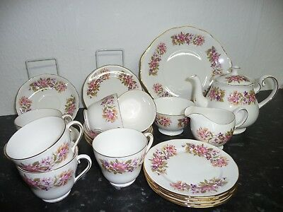 Vintage Colclough Bone China Teaset ~  WAYSIDE ~ 22 PIECE ~ HONEYSUCKLE ~
