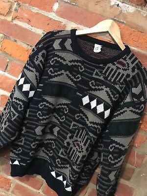 VINTAGE 80s 90s CRAZY OVERSIZED KNIT JUMPER COSBY BLACK TAUPE (vj102) SIZE S-M