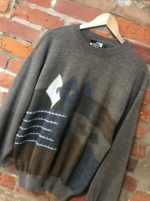 VINTAGE 80s 90s CRAZY OVERSIZED KNIT JUMPER COSBY BROWN ABSTRACT (vj106) SIZE L