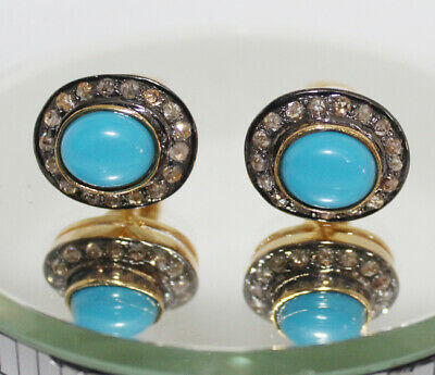 2.20cts ROSE CUT DIAMOND TURQUOISE .925 STERLING SILVER CUFFLINK