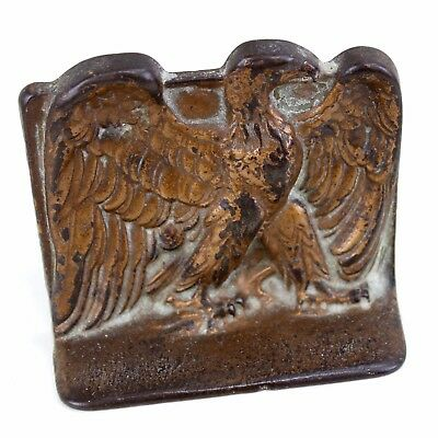 One Antique Bookend 1925 Bald Eagle DAL Iron Bronze Wash Door Stop Solid Vintage