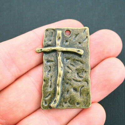Large Cross Pendant Charm Antique Bronze Tone - BC1444