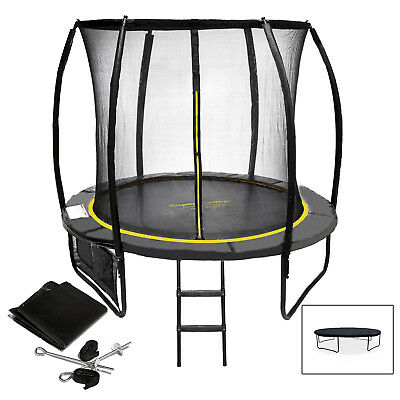 8ft 10ft 12ft Trampoline With Enclosure Rain Cover Safety Net Ladder Anchor Set
