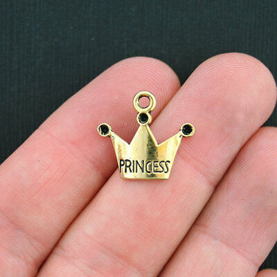 12 Princess Crown Charms Antique Gold Tone - GC328