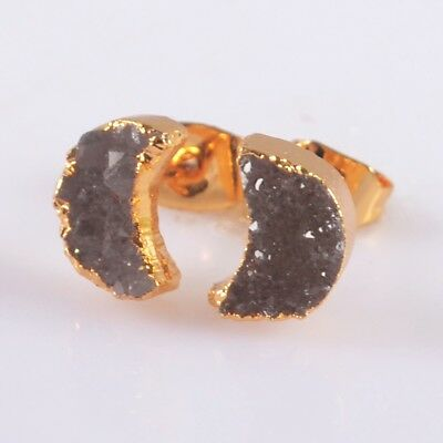 8x6mm Crescent Moon Natural Agate Druzy Geode Stud Earrings Gold Plated B047962