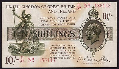 UK Ten Shillings Banknote 1928 P-360 Treasury Note
