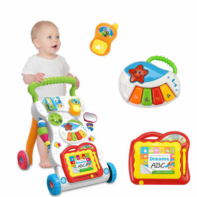 Baby Activity Push Walker Musical Piano Play Stroller Sit & Play Early Learning