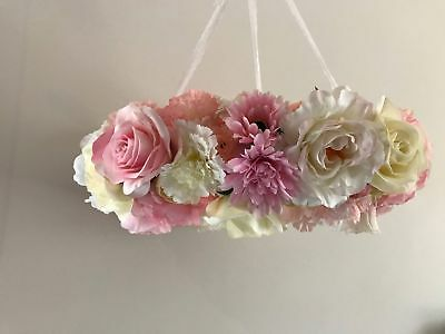 Handmade 'Baby Blush' (Soft Pinks) Baby Girls Floral Nursery Chandelier